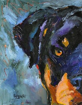 Rottweiler Dog 11x14 signed art PRINT RJK painting
