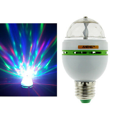 E27 3W Colorful Auto Rotating RGB LED Bulb Stage Light Party Disco Lamp GN