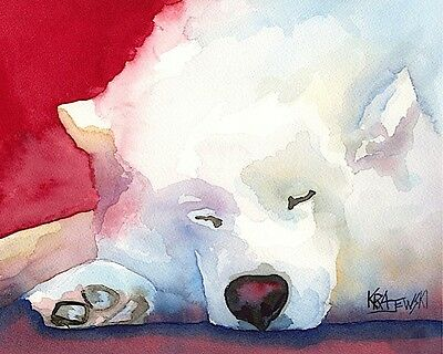 Samoyed Dog 11x14 signed art PRINT RJK painting