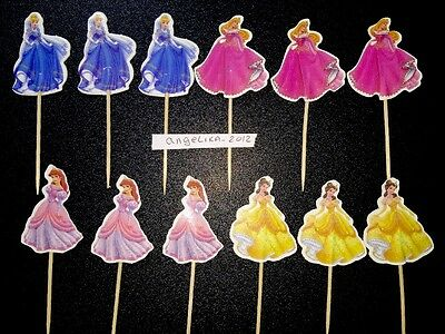 12 X Disney Princess Cake Picks/Toppers Party Cupcake Decorations Kids Birthday