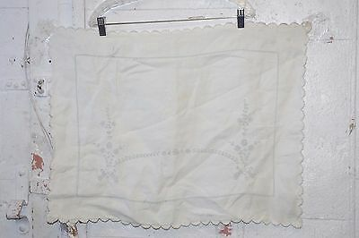 Vintage Linen Pillow Case Sham Embroidered Light Blue on White