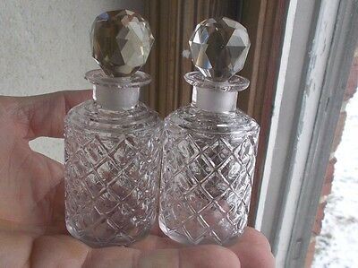 Antique Matching Pair Cut Glass Diamond Pattern Perfume Bottles W/stoppers 1890