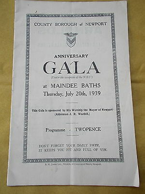 The Anniversary Swimming Gala Programme @ Maindee Baths, Newport June 20th 1939