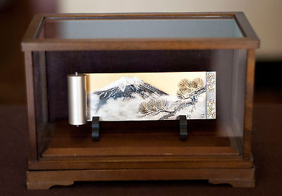 Japanese Signed Mt. Fuji .920 Silver Scroll Decoration with Wood + Glass Display