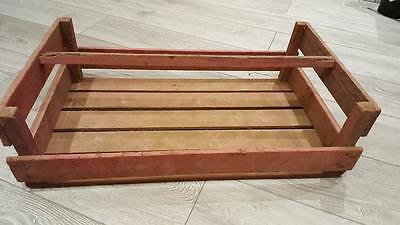 3 x FRENCH LARGE PINKISH WOODEN POTATO PANNIER TRUG BASKET DISPLAY CRATE.