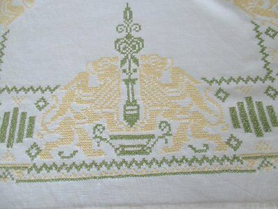 VINTAGE TABLECLOTH HAND EMBROIDERED with LIONS