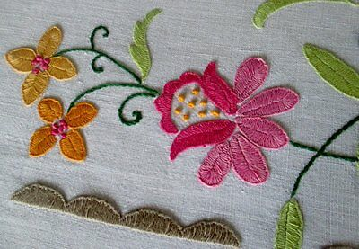 VINTAGE TABLECLOTH-HAND EMBROIDERED with COLOURFUL FLOWERS