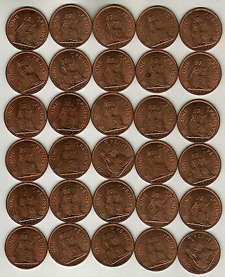 30 Uncirculated British Large Pennies