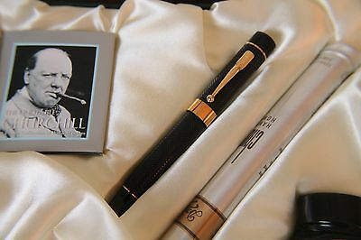 Conway Stewart Fountain Pen - Churchill Chased Ebonite finish - Limited Edition
