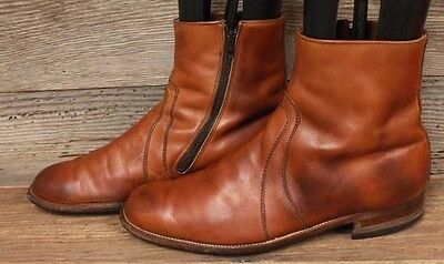 Mens Vintage Leather Size Zip Ankle / Beatle/ Hipster Boots Sz 10.5B