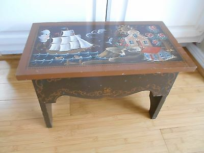 vintage wood wooden nautical painted scene lake cottage foot stool with storage