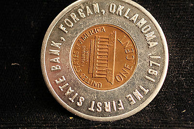 Forgan, Oklahoma. First State Bank 1970-D encased cent