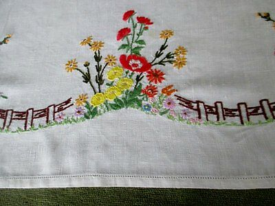Vintage Tablecloth Hand Embroidered-English Countryside Flowers