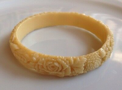 Vintage Carved Celluloid Bangle Bracelet Ivory Color Floral