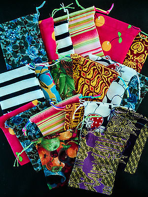 Recycled Fabric Drawstring Gift Bag/Pouch Packaging mixed patterns bulk x20