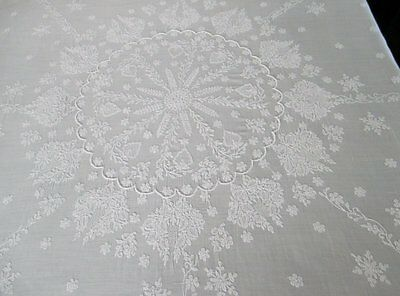 "Antique Tablecloth - Hand Embroidery - Sheer Cotton- 44"" Sq."