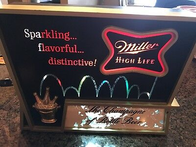 Vintage Miller High Life Light Up Sign Miller Brewing Company