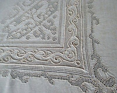 "ANTIQUE TABLECLOTH BEAUTIFUL PUNCH WORK & HAND EMBROIDERY-LINEN-50""sq."