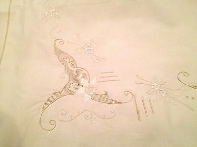 ANTIQUE VICTORIAN EMBROIDERED PILLOW CASE  21 x 31 IN