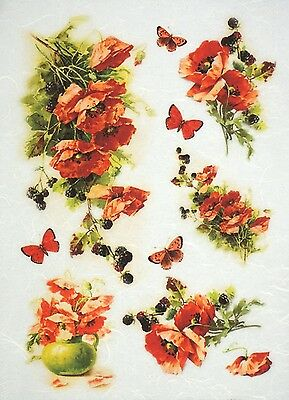Rice Paper for Decoupage Decopatch Scrapbook Craft Sheet Vintage Red Poppies