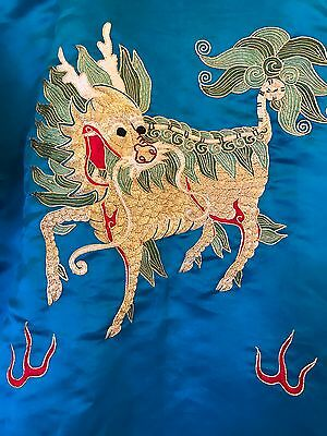 Silk Embroidered Chinese Dragon Short Robe Turquoise Gold Thread Women's L