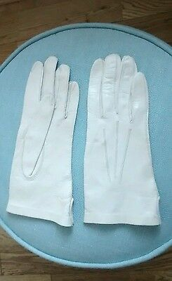 Vintage Soft Dents Fownes Cream Leather Gloves Lined Size 6.5