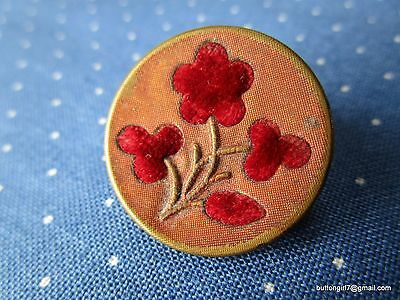 4017 – Red Velvet Floral 1800's Perfume Button Set in Tinted Brass - Bouton