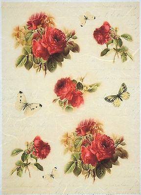 Rice Paper for Decoupage Decopatch Scrapbooking Sheet Craft Vintage Roses Tudor