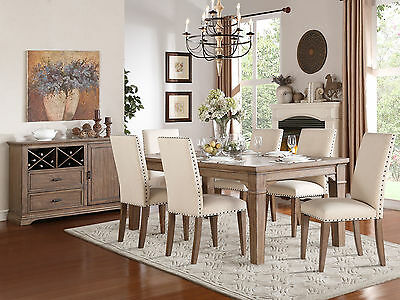 DELTA - 7 Piece Traditional Light Brown Rectangular Dining Room Table Chairs Set