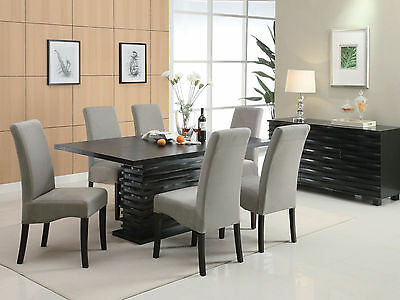 HAVEN-7 Pieces Modern Rectangular Wood Dining Room Table & Microfiber Chairs Set
