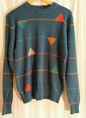 Vintage City Streets Mens sz L Sweater Dark Green Blue Geometric Stripes 80s 90s