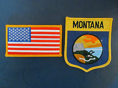 2 Lot  Montana & USA Patches Hat Jacket Hoodie Biker Vest Backpack Travel
