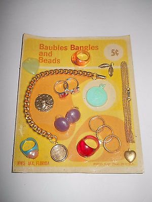 Vintage Vending Machine Display Header Card Toy Baubles Bangles And Beads
