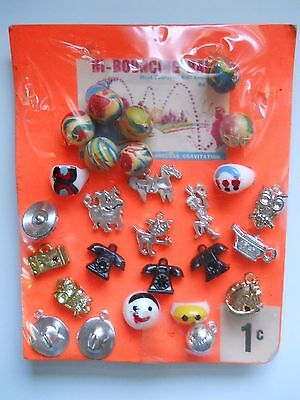 Vintage Vending Machine Display Header Card Toy Bouncing Balls Telephone Charms