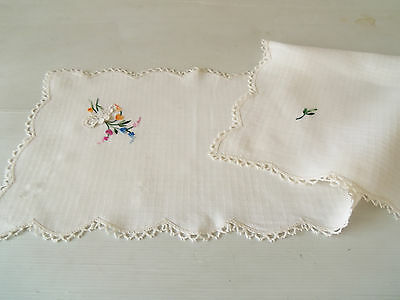 Lovely Vintage Table Runner/centre - Scalloped Lace Edging-Embroidered