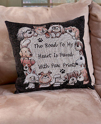The Lakeside Collection Furry Friends Tapestry Pillow - Dog