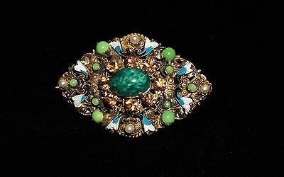 Antique Victorian Massive Czech Molded Green  Glass  Enamel Brass Brooch  Pin