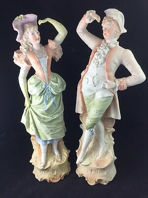 "Pair of Antique Unmarked German Parian Bisque Porcelain Painted 17"" Figurines"