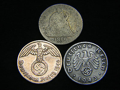 German WWII coins + 1841-1891 Seated Liberty Dime 90% Silver US German Lot