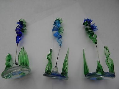 3 beautiful glass seahorse ornaments - shades of blue & green