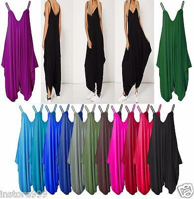 New Ladies Cami Romper Baggy Harem Jumpsuit Lot Dress Plus Size One Size 8 to 20