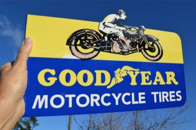 Old Style Motorcycle Bike Goodyear Tire Motorcycle Sign Made In Usa 50% Off Sale