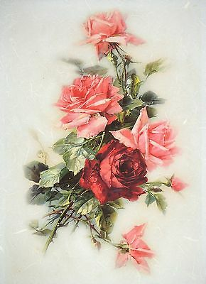 Rice Paper for Decoupage Decopatch Scrapbook Craft Sheet Vintage Red Roses Large