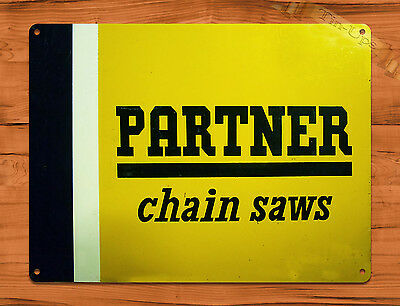 "TIN-UPS TIN SIGN ""Partner"" Chainsaw Vintage Garage Rustic Wall Decor Man Cave"