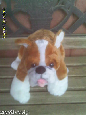 Very Nice Plush Brown & White Boxer Puppy Dog by Build-A-Bear