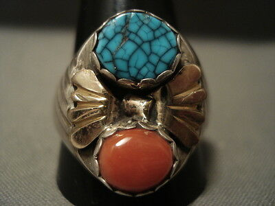 """Huge Vintage Navajo Lone Mountain Turquoise """"""""gold Flank"""""""" Silver Ring"""