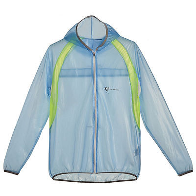 RockBros Cycling Outdoor Jacket Skin Windproof Wind Coat jersey with Hood Blue