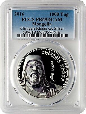 2016 1000 Togrog Mongolia Chinggis Khaan 1oz. Silver Proof Coin PCGSPR69DCAM