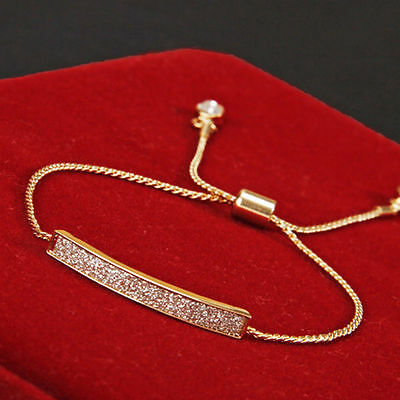 New Women Gold/Silver Crystal Adjustable Cuff Bracelet Chain Charm Jewelry Gifts