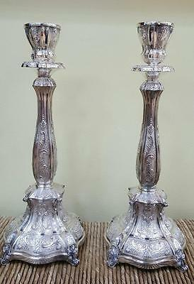 HAZORFIM BELLAGIO DECORATED LARGE STERLING SILVER 925 CANDLESTICKS 1140.4g